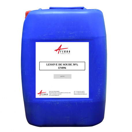 Lessive de soude 30% EN896 - Hydroxyde de sodium en solution agréée eau potable Bidon 20L